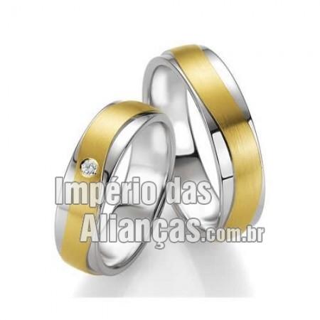 Alianças de ouro 18k e prata
