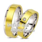 Alianças em  ouro 18k e prata