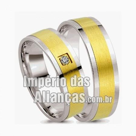 Alianças  de  noivado casamento Ouro 18k e Prata
