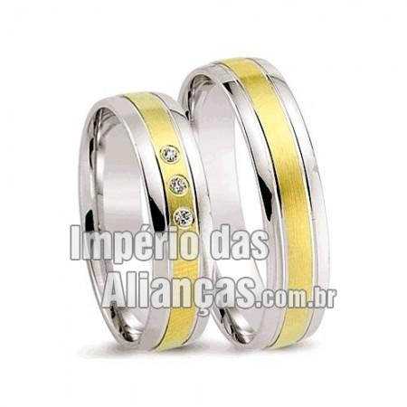 Alianças de noivado e casamento ouro 18k e prata