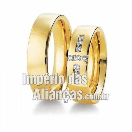 Alianças de casamento em ouro amarelo 18k 750