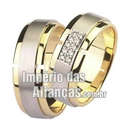 Alianças de noivado e casamento em ouro amarelo e ouro branco 18k