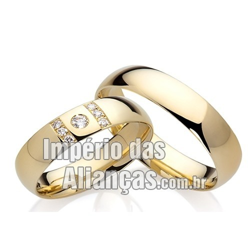 6471d4afe Alianças de casamento e noivado em ouro amarelo e ouro branco 18k ...