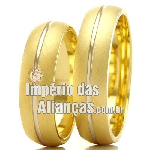 f5433504e Aliança de noivado e casamento em ouro amarelo e ouro branco 18k ...