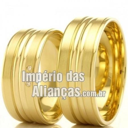 Alianças de casamento e noivado em ouro 18k 750