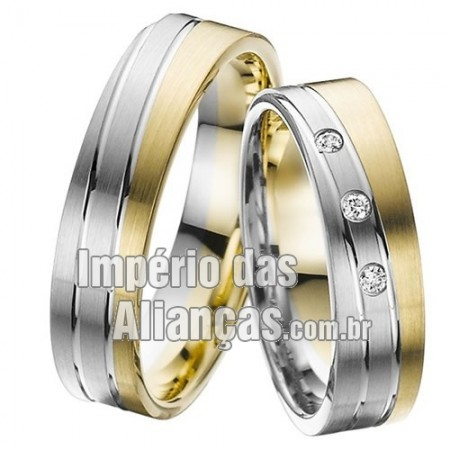 Aliança de noivado e casamento em ouro amarelo e ouro branco 18k
